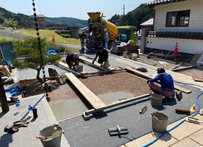 豊岡市 I邸 板石、洗い出しコンクリート